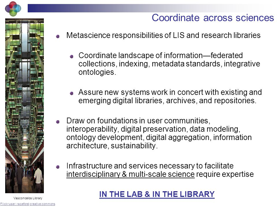 Coordinate across sciences Metascience responsibilities of LIS and research libraries Coordinate landscape of informationfederated collections, indexing, metadata standards, integrative ontologies.