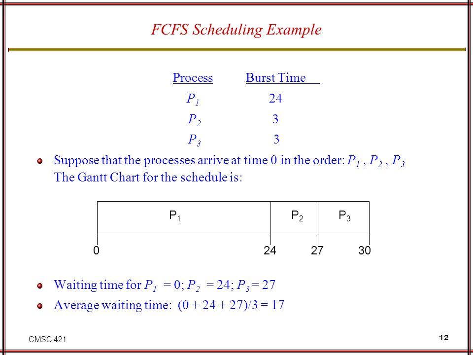 CMSC 421 12 FCFS Scheduling Example ProcessBurst Time P 1 24 P 2 3 P 3 3 Suppose that the processes arrive at time 0 in the order: P 1, P 2, P 3 The G