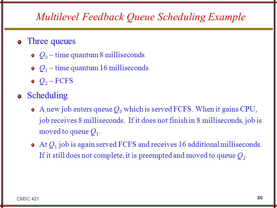 CMSC 421 30 Multilevel Feedback Queue Scheduling Example Three queues Q 0 – time quantum 8 milliseconds Q 1 – time quantum 16 milliseconds Q 2 – FCFS
