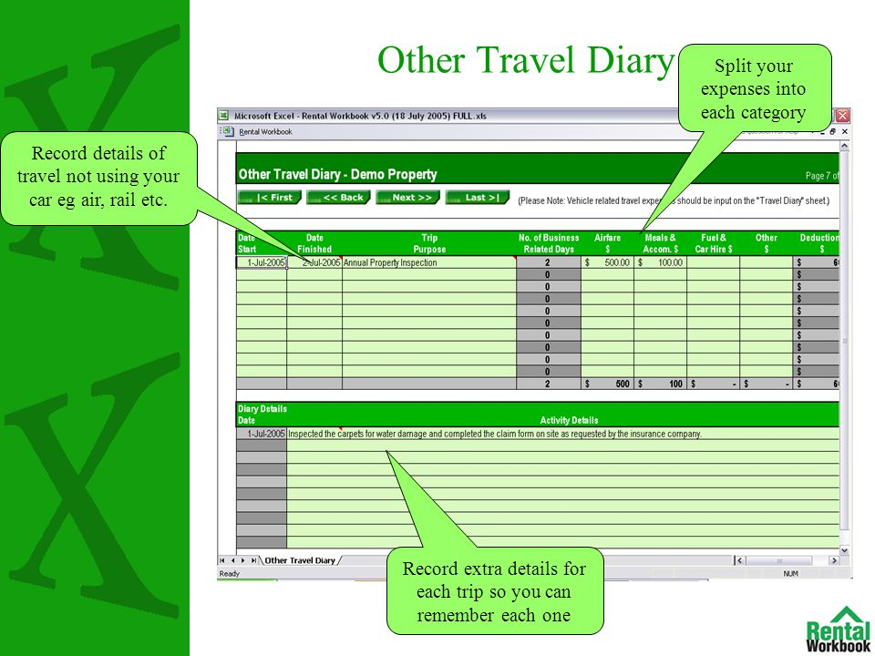 Other Travel Diary Record details of travel not using your car eg air, rail etc.