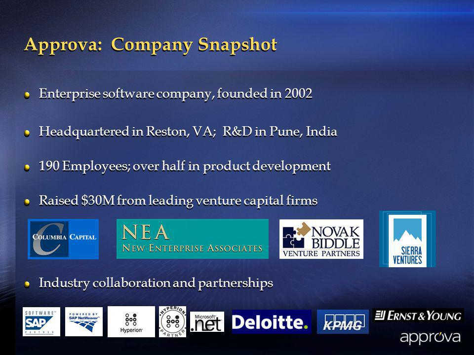 Approva: Company Snapshot Enterprise software company, founded in 2002 Headquartered in Reston, VA; R&D in Pune, India 190 Employees; over half in product development Raised $30M from leading venture capital firms Industry collaboration and partnerships Enterprise software company, founded in 2002 Headquartered in Reston, VA; R&D in Pune, India 190 Employees; over half in product development Raised $30M from leading venture capital firms Industry collaboration and partnerships