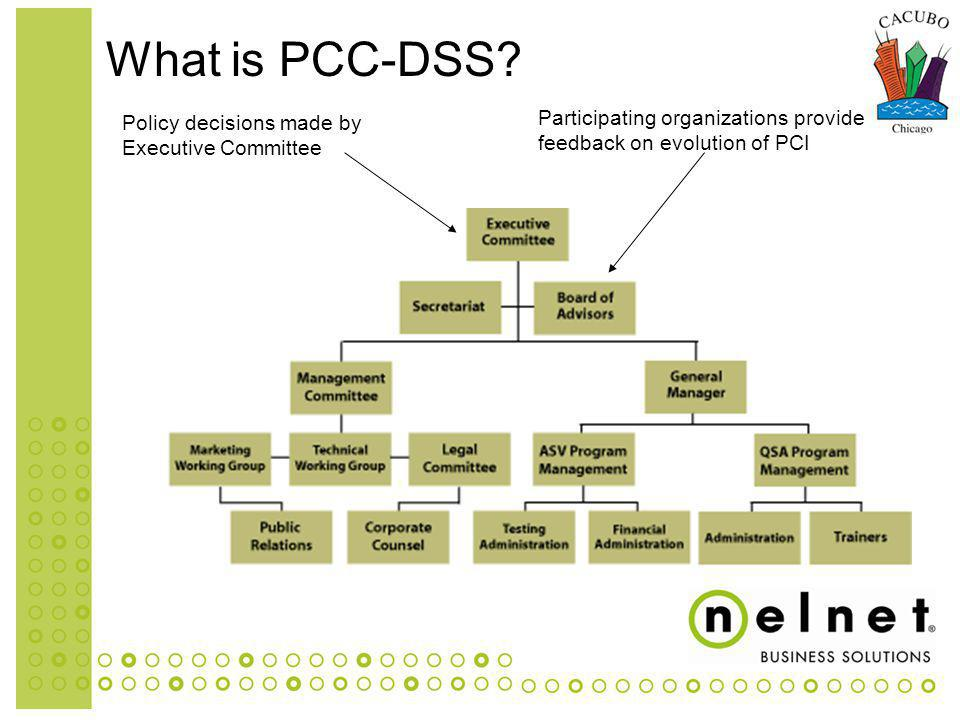 Policy decisions made by Executive Committee Participating organizations provide feedback on evolution of PCI What is PCC-DSS