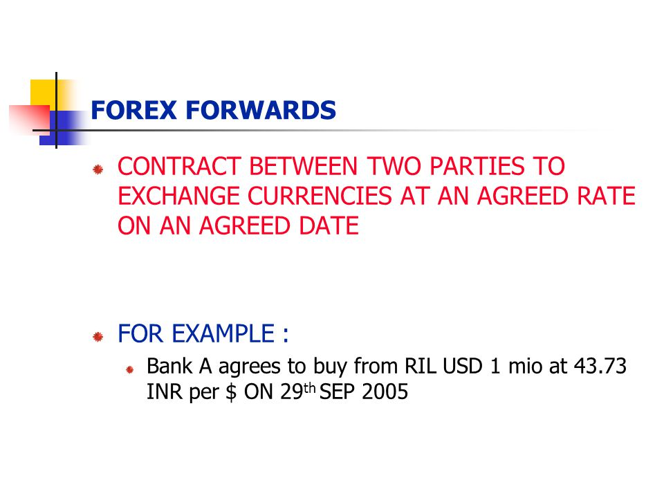 FOREX FORWARDS CONTRACT BETWEEN TWO PARTIES TO EXCHANGE CURRENCIES AT AN AGREED RATE ON AN AGREED DATE FOR EXAMPLE : Bank A agrees to buy from RIL USD