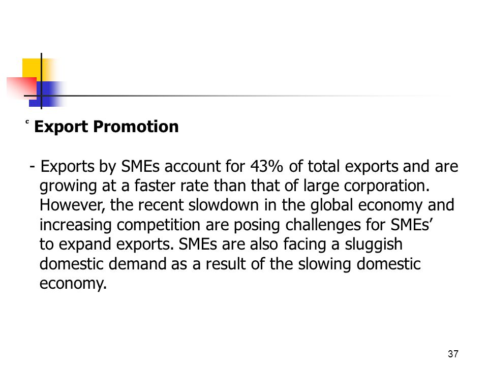 37 Export Promotion - Exports by SMEs account for 43% of total exports and are growing at a faster rate than that of large corporation.