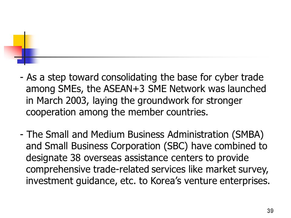 39 - As a step toward consolidating the base for cyber trade among SMEs, the ASEAN+3 SME Network was launched in March 2003, laying the groundwork for stronger cooperation among the member countries.