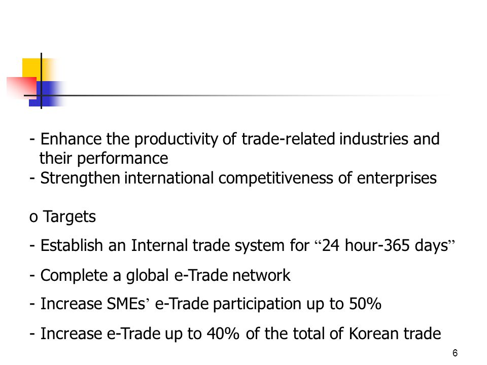 6 - Enhance the productivity of trade-related industries and their performance - Strengthen international competitiveness of enterprises o Targets - Establish an Internal trade system for 24 hour-365 days - Complete a global e-Trade network - Increase SMEs e-Trade participation up to 50% - Increase e-Trade up to 40% of the total of Korean trade