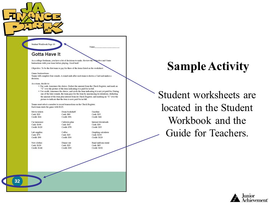 Student worksheets are located in the Student Workbook and the Guide for Teachers. Sample Activity