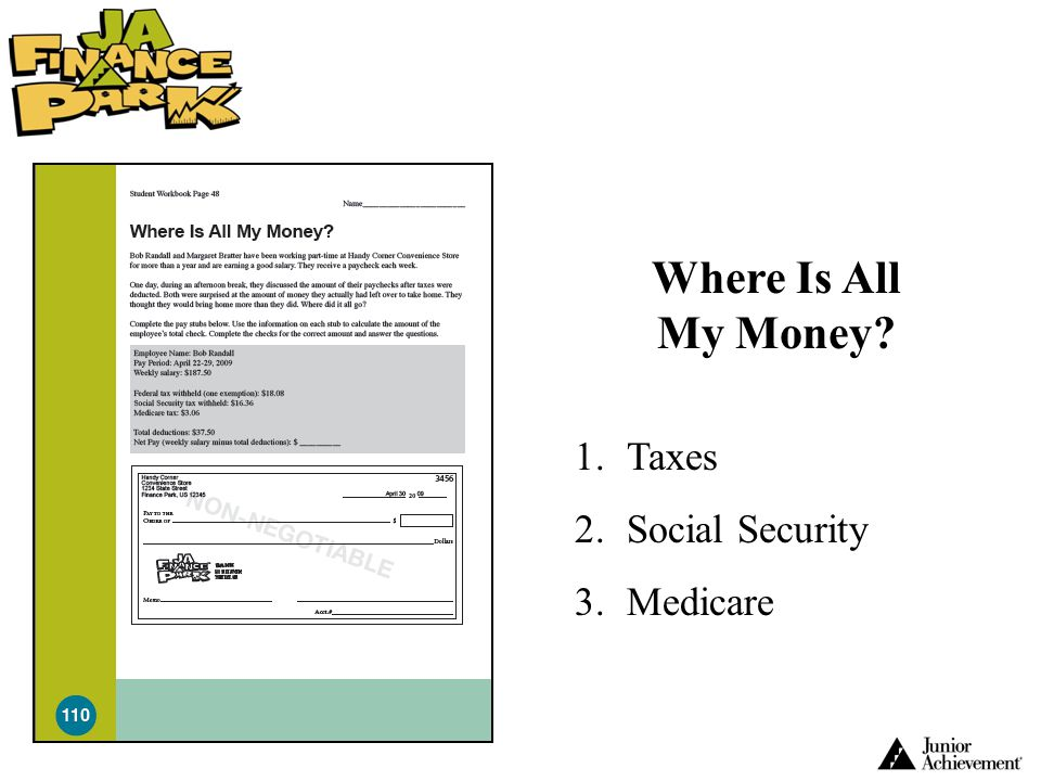 Where Is All My Money? 1.Taxes 2.Social Security 3.Medicare