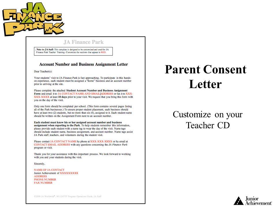 Parent Consent Letter Customize on your Teacher CD