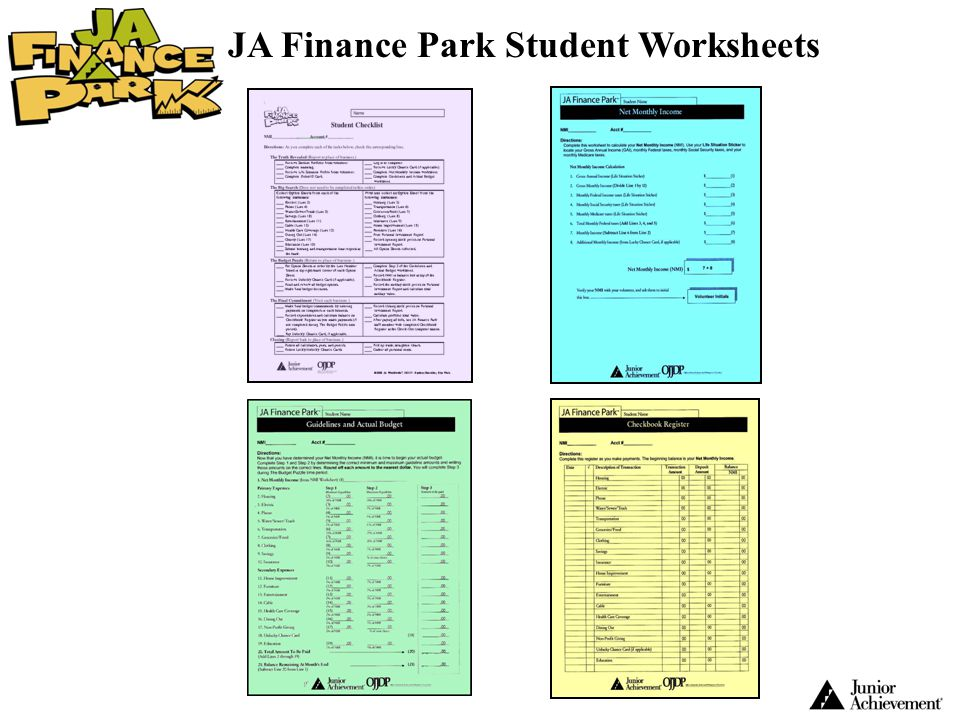 JA Finance Park Student Worksheets