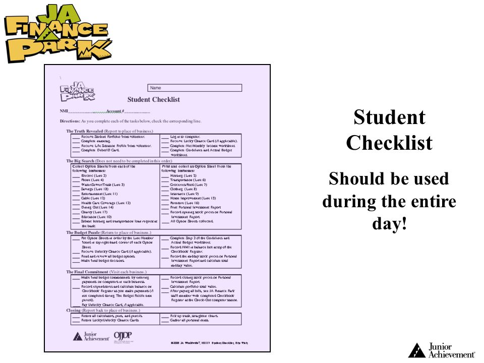Student Checklist Should be used during the entire day!