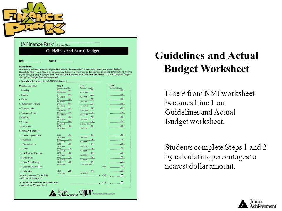 Guidelines and Actual Budget Worksheet Line 9 from NMI worksheet becomes Line 1 on Guidelines and Actual Budget worksheet. Students complete Steps 1 a