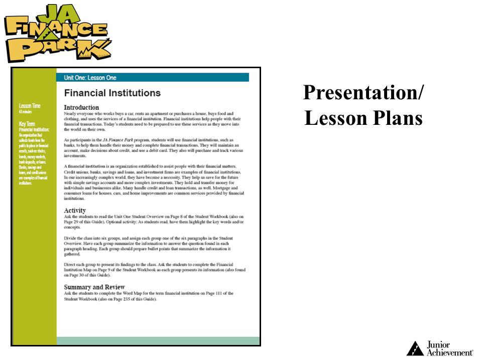 Presentation/ Lesson Plans Class Period