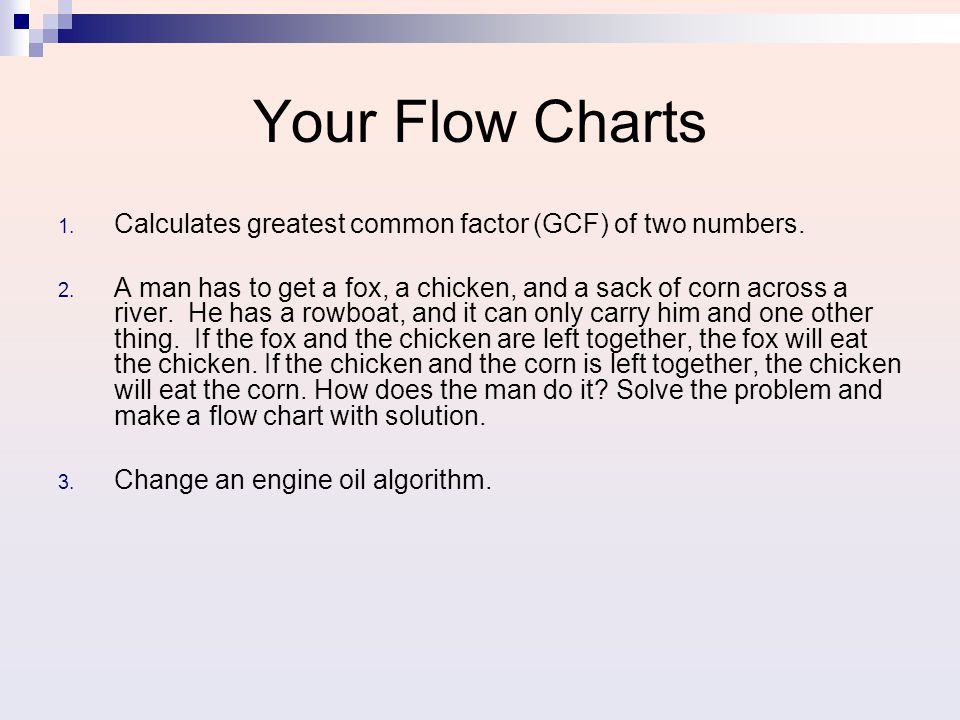 Your Flow Charts 1.Calculates greatest common factor (GCF) of two numbers.