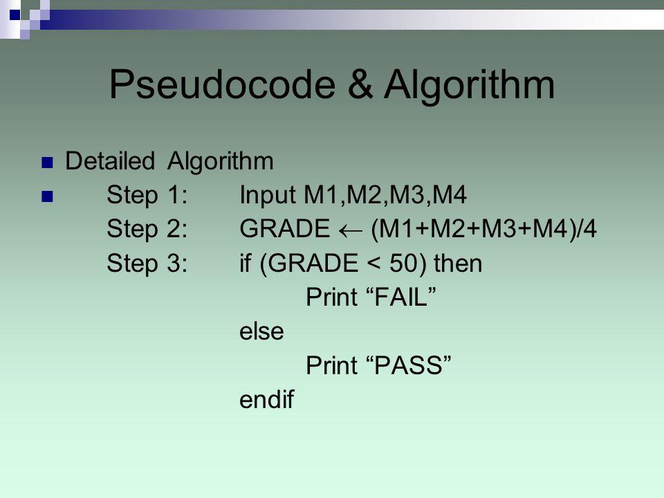 Pseudocode & Algorithm Detailed Algorithm Step 1: Input M1,M2,M3,M4 Step 2: GRADE (M1+M2+M3+M4)/4 Step 3: if (GRADE < 50) then Print FAIL else Print PASS endif