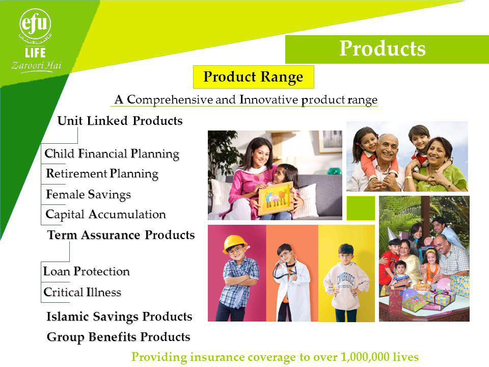 Product Range A A Comprehensive and Innovative product range U LP Unit Linked Products Capital Accumulation Providing insurance coverage to over 1,000,000 lives Products Female Savings Retirement Planning Child Financial Planning Term Assurance P Term Assurance Products Islamic Savings P Islamic Savings Products Loan Protection Critical Illness Group Benefits P Group Benefits Products