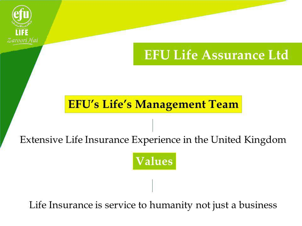 AA- (Outlook Stable) By JCR-VIS Credit Rating Company Limited EFU Life EFU Life is the first insurance company in Pakistan to be ISO 9001 2008 awarded the ISO 9001 2008 certification.