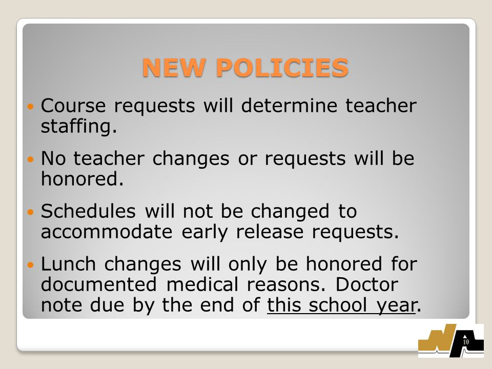 NEW POLICIES Course requests will determine teacher staffing.