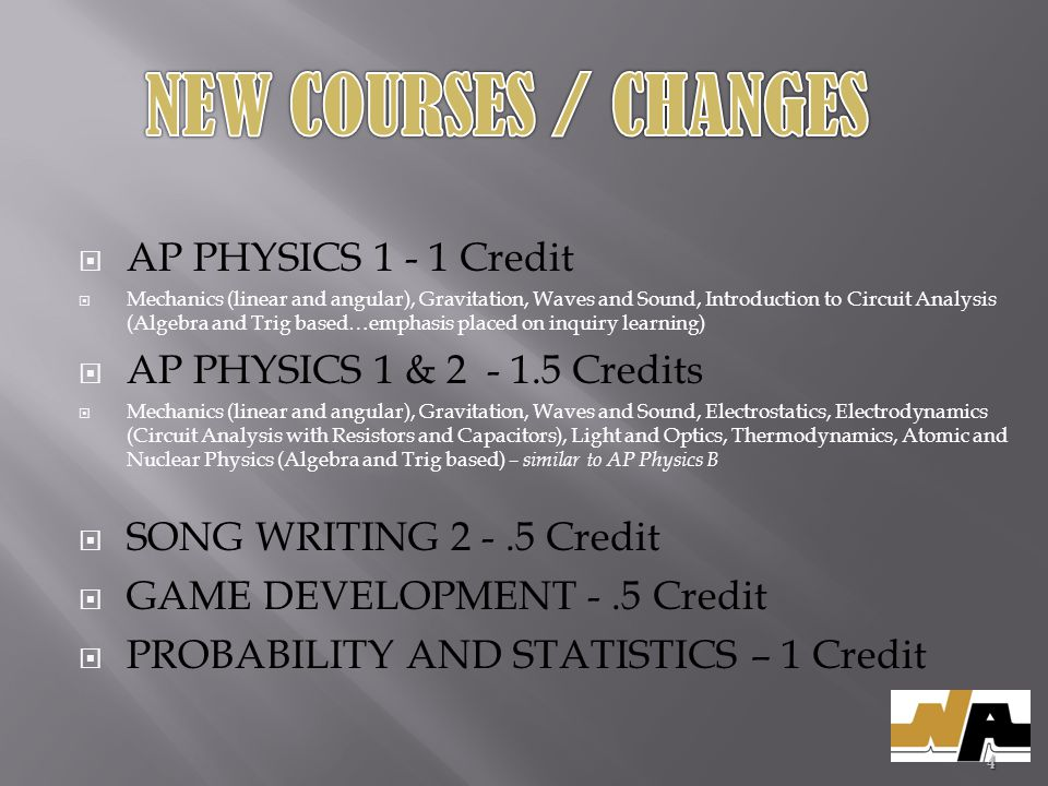 AP PHYSICS 1 - 1 Credit Mechanics (linear and angular), Gravitation, Waves and Sound, Introduction to Circuit Analysis (Algebra and Trig based…emphasis placed on inquiry learning) AP PHYSICS 1 & 2 - 1.5 Credits Mechanics (linear and angular), Gravitation, Waves and Sound, Electrostatics, Electrodynamics (Circuit Analysis with Resistors and Capacitors), Light and Optics, Thermodynamics, Atomic and Nuclear Physics (Algebra and Trig based) – similar to AP Physics B SONG WRITING 2 -.5 Credit GAME DEVELOPMENT -.5 Credit PROBABILITY AND STATISTICS – 1 Credit 4