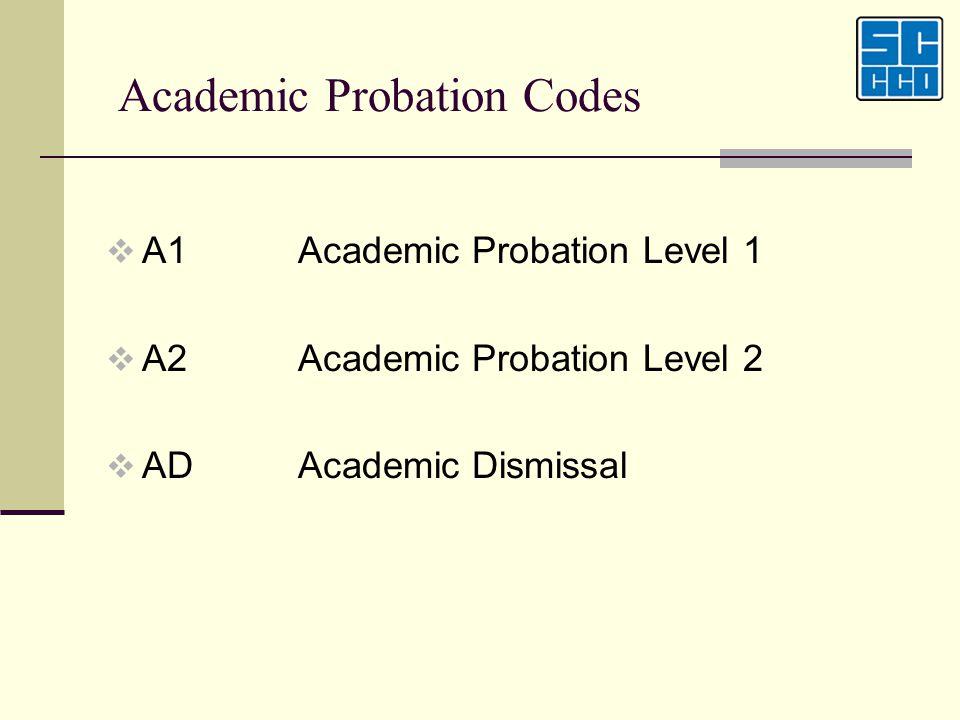 Academic Probation Codes A1Academic Probation Level 1 A2Academic Probation Level 2 ADAcademic Dismissal