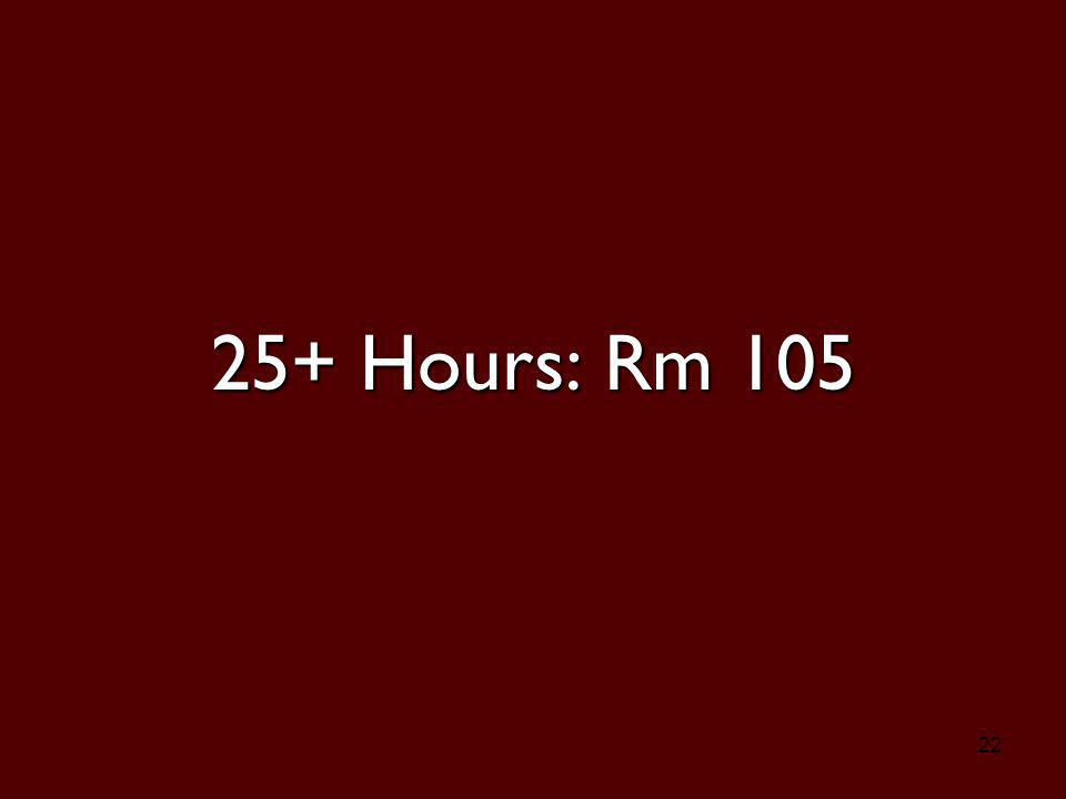 22 25+ Hours: Rm 105