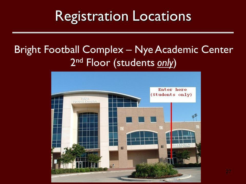 27 Bright Football Complex – Nye Academic Center 2 nd Floor (students only) Registration Locations Kyle Field