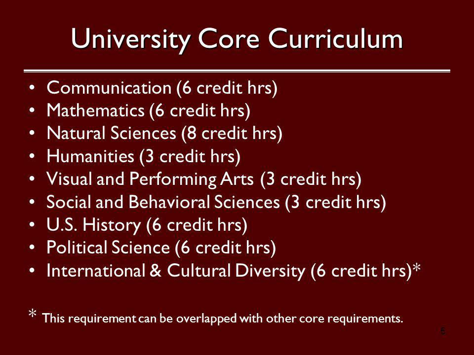5 University Core Curriculum Communication (6 credit hrs) Mathematics (6 credit hrs) Natural Sciences (8 credit hrs) Humanities (3 credit hrs) Visual and Performing Arts (3 credit hrs) Social and Behavioral Sciences (3 credit hrs) U.S.