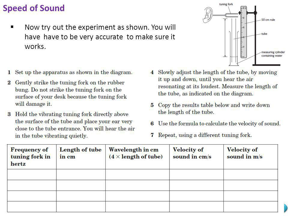 Mr Powell 2012 Index Speed of Sound Now try out the experiment as shown. You will have have to be very accurate to make sure it works.