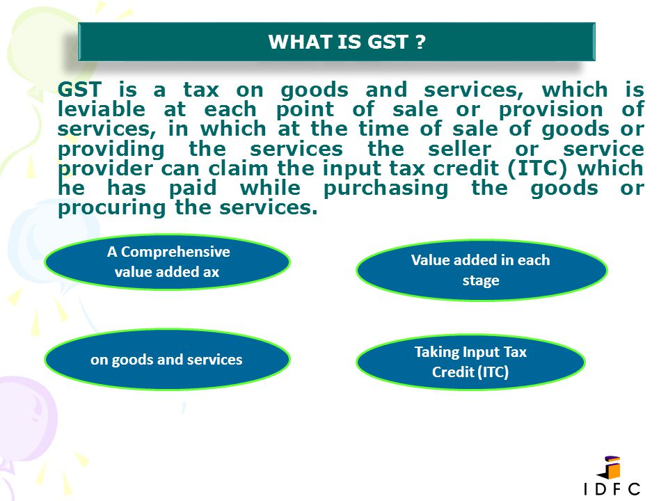 Manufacturer Wholesaler Retailer Customer Department of Tax 150+(15+15) 200+(20+20) 250+(25+25) 30 40-30=10 50-40=10 Assume GGST & SGST is 10% Total Tax collection =(30+10+10)=Rs50 which equal to 20% of Rs.250/- GST CHART