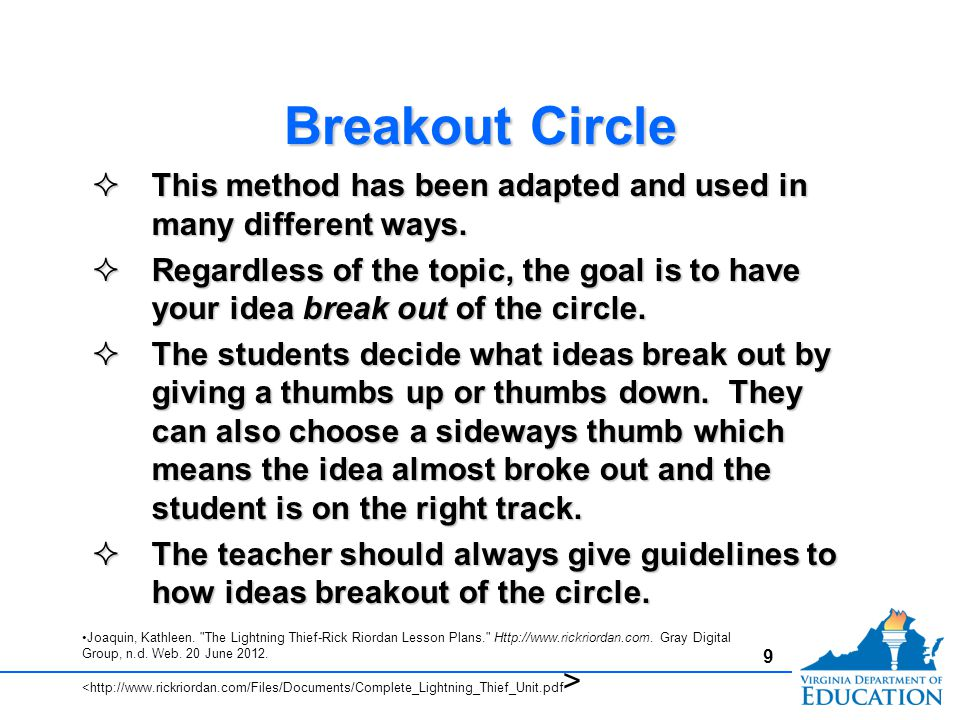 Breakout Circle This method has been adapted and used in many different ways.