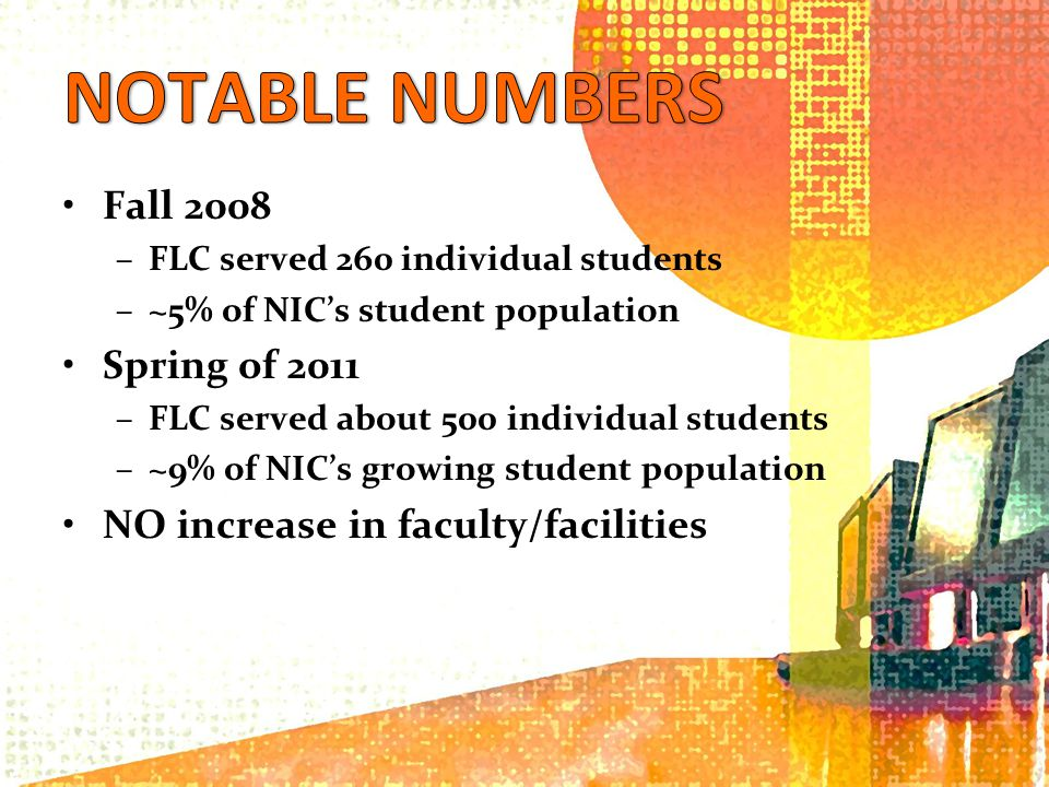 Fall 2008 –FLC served 260 individual students –~5% of NICs student population Spring of 2011 –FLC served about 500 individual students –~9% of NICs growing student population NO increase in faculty/facilities