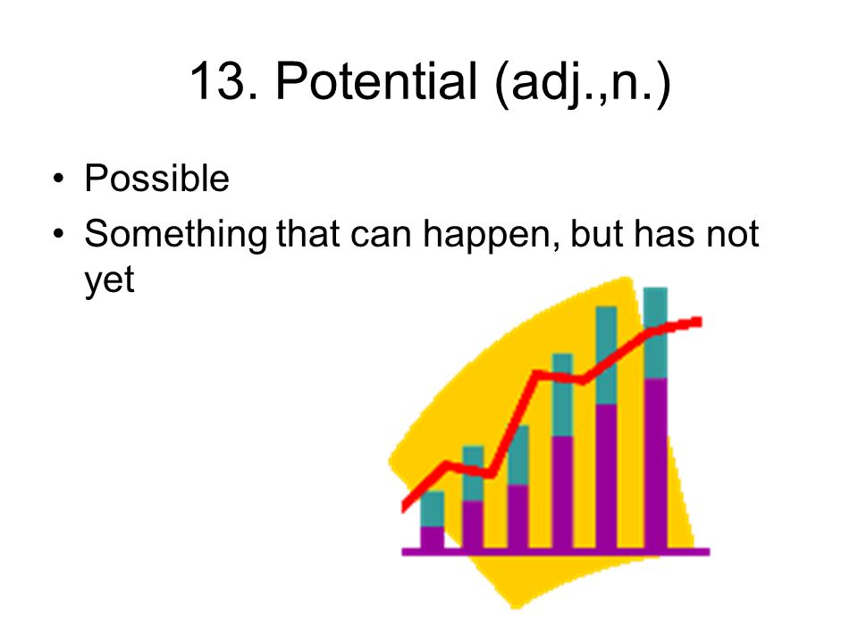 13. Potential (adj.,n.) Possible Something that can happen, but has not yet