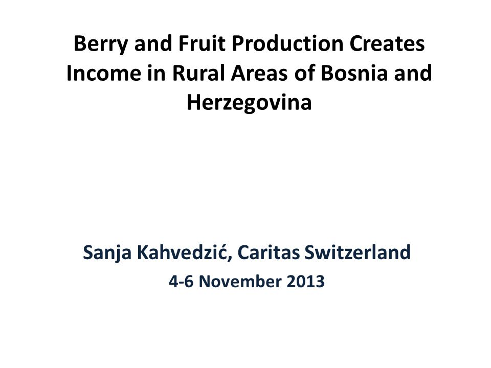 Berry and Fruit Production Creates Income in Rural Areas of Bosnia and Herzegovina Sanja Kahvedzić, Caritas Switzerland 4-6 November 2013