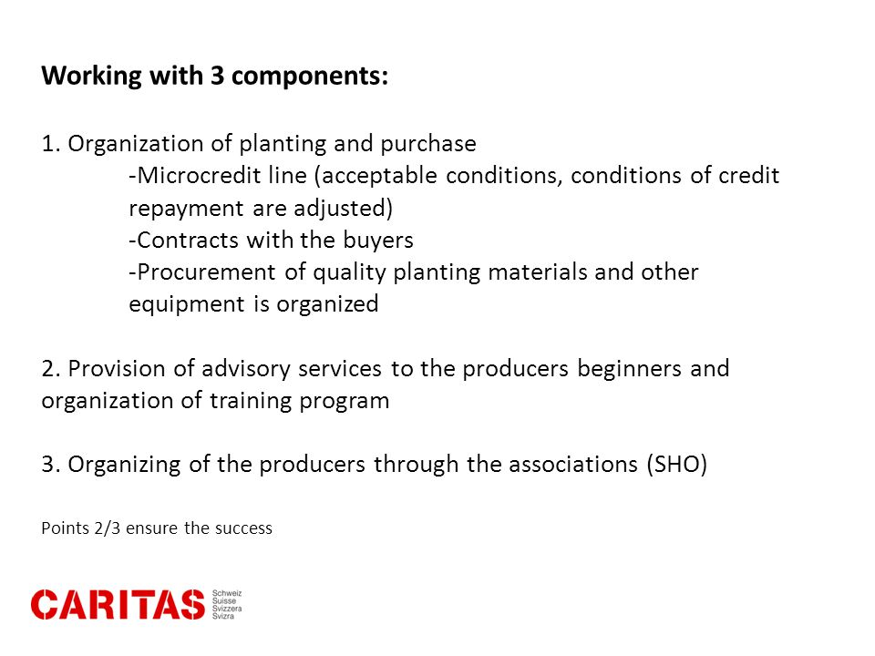 Working with 3 components: 1. Organization of planting and purchase -Microcredit line (acceptable conditions, conditions of credit repayment are adjus