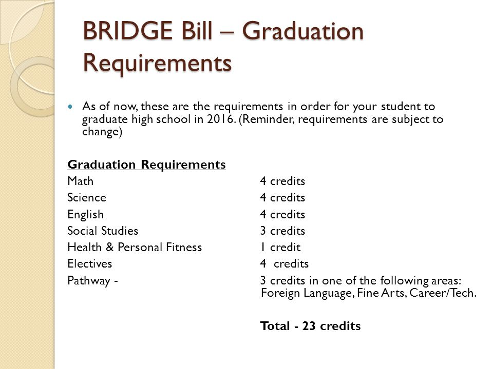 BRIDGE Bill – Graduation Requirements As of now, these are the requirements in order for your student to graduate high school in 2016.