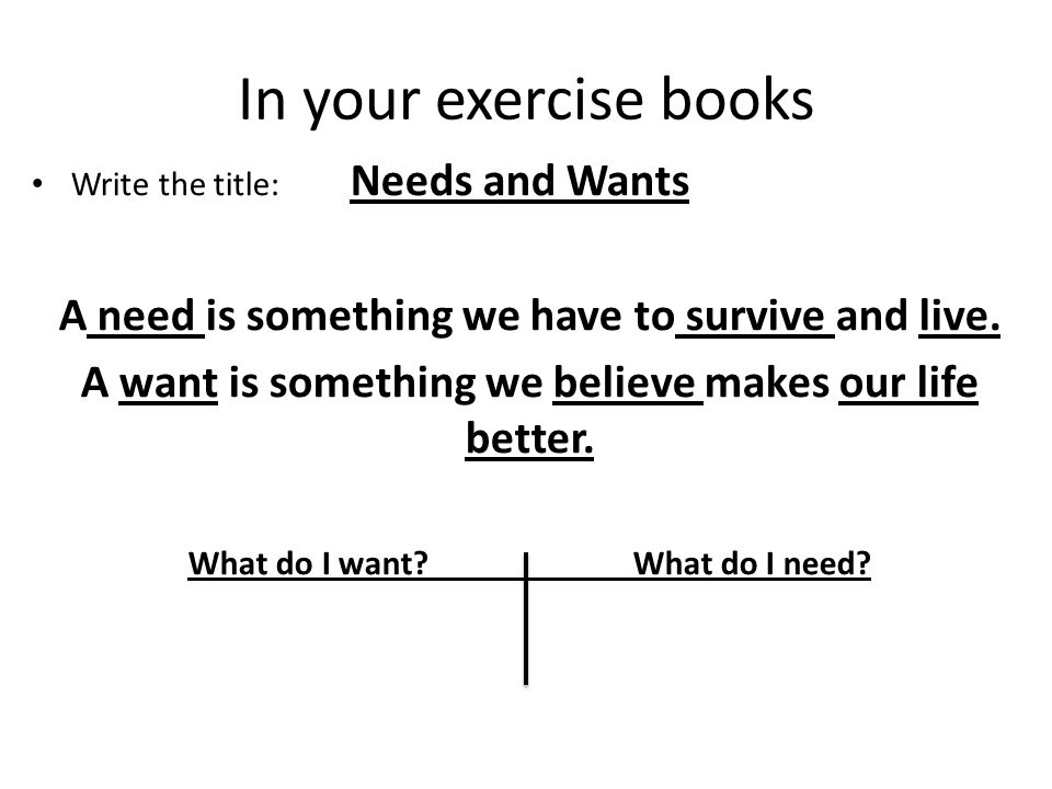 In your exercise books Write the title: Needs and Wants A need is something we have to survive and live.