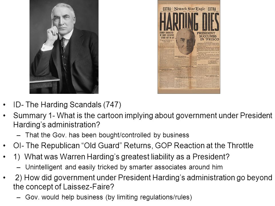 ID- The Harding Scandals (747) Summary 1- What is the cartoon implying about government under President Hardings administration.