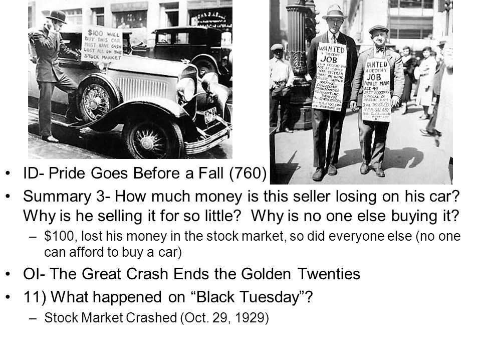 ID- Pride Goes Before a Fall (760) Summary 3- How much money is this seller losing on his car.