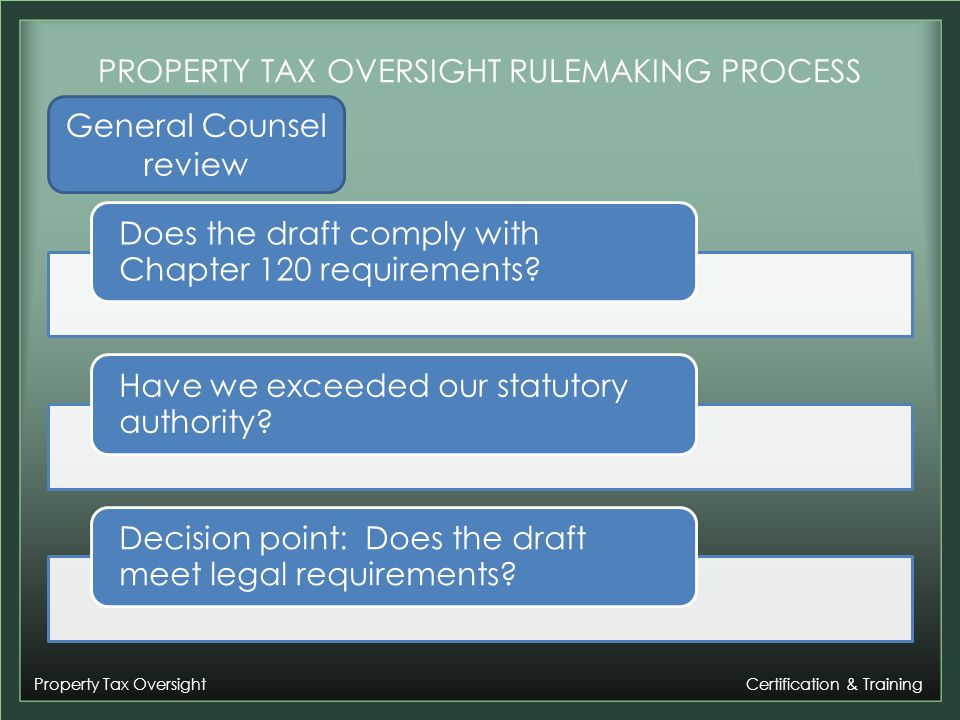 Property Tax Oversight Certification & Training PROPERTY TAX OVERSIGHT RULEMAKING PROCESS Does the draft comply with Chapter 120 requirements.