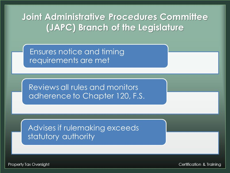 Property Tax Oversight Certification & Training Rulemaking for the Department of Revenue Cabinet Agency (FDLE, HSMV, DOR, DVA) Must go to Governor and Cabinet for approval to take each step in rulemaking Dependent on when Governor and Cabinet meet