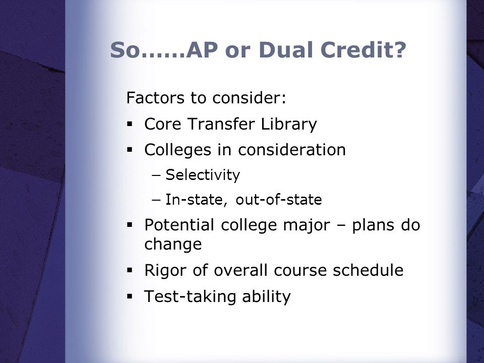 So……AP or Dual Credit? Factors to consider: Core Transfer Library Colleges in consideration Selectivity In-state, out-of-state Potential college major