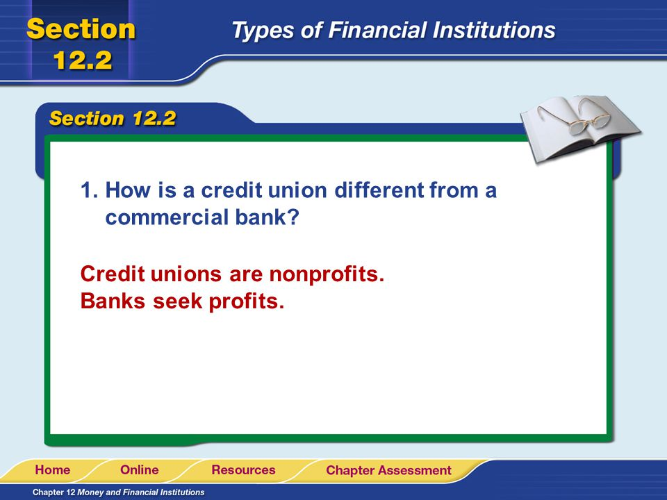 1.How is a credit union different from a commercial bank? Credit unions are nonprofits. Banks seek profits.