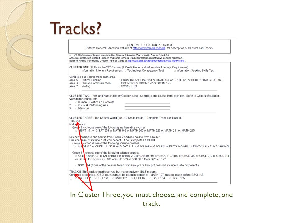 Tracks In Cluster Three, you must choose, and complete, one track.