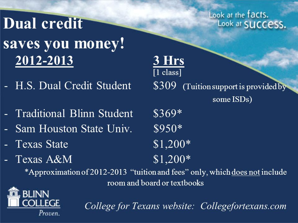 Dual credit saves you money Hrs [1 class] -H.S.