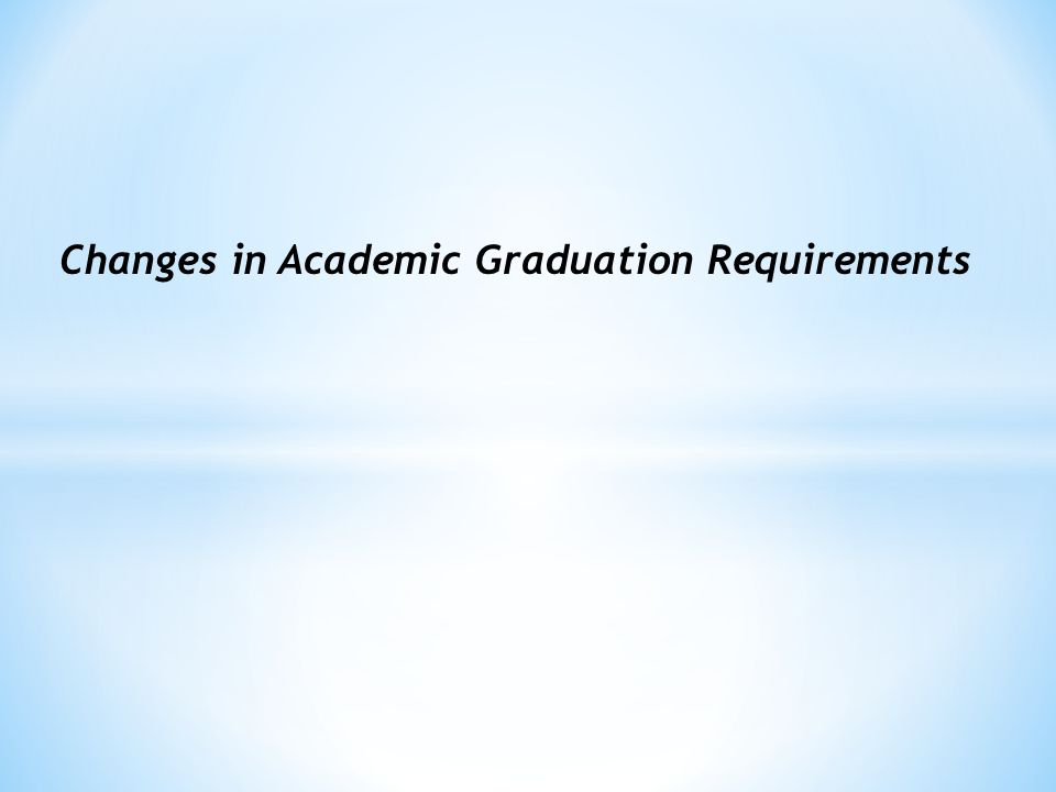 Changes in Academic Graduation Requirements
