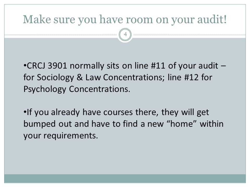 Make sure you have room on your audit.