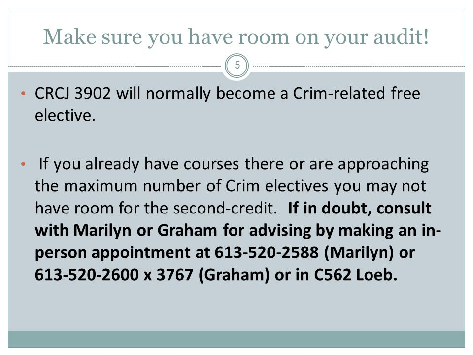 Make sure you have room on your audit. CRCJ 3902 will normally become a Crim-related free elective.