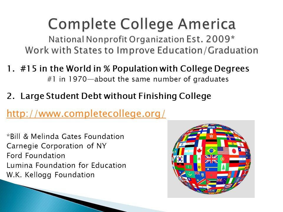 1. #15 in the World in % Population with College Degrees #1 in 1970about the same number of graduates 2. Large Student Debt without Finishing College