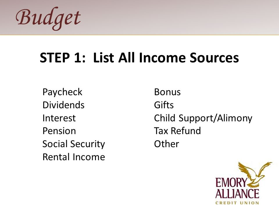 Budget STEP 2: Determine Monthly Expenses Fixed - mortgage, car payment Flexible - food, clothes, utilities, gifts Periodic - insurance, taxes