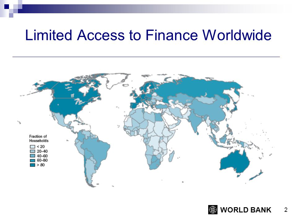 WORLD BANK 2 Limited Access to Finance Worldwide